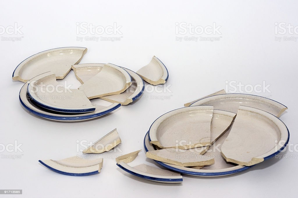 broken plates stock photo