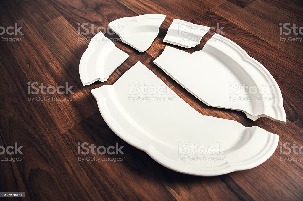 Broken Porcelain Plate stock photo