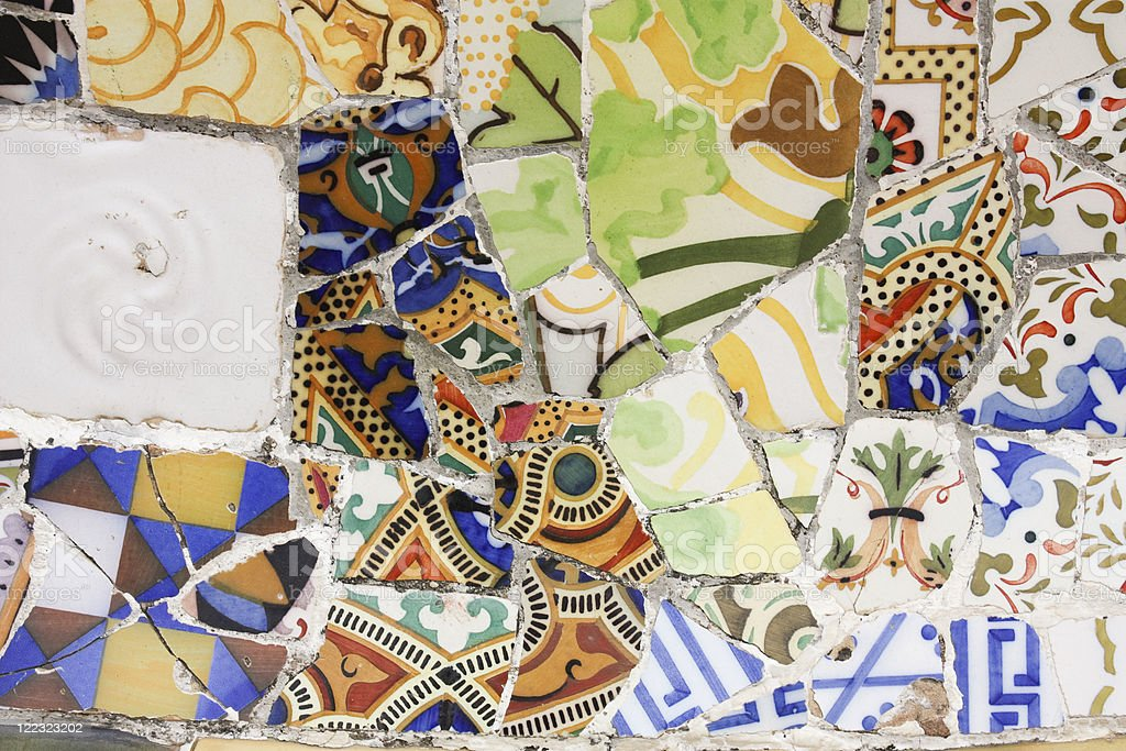 Broken pottery, trencadis, Gaudi. royalty-free stock photo