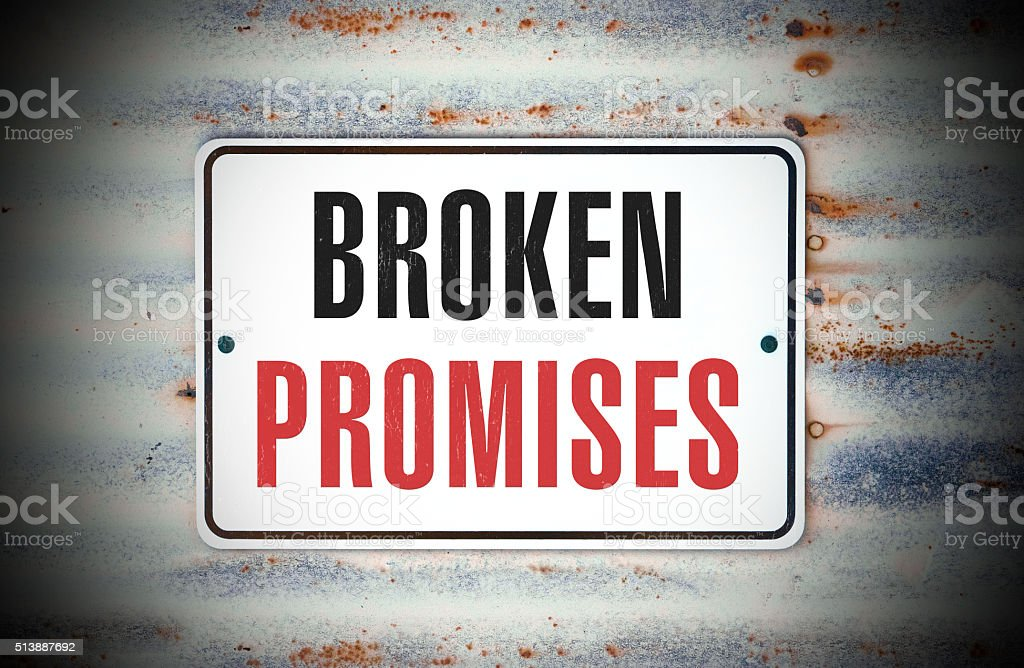 broken promises stock photo