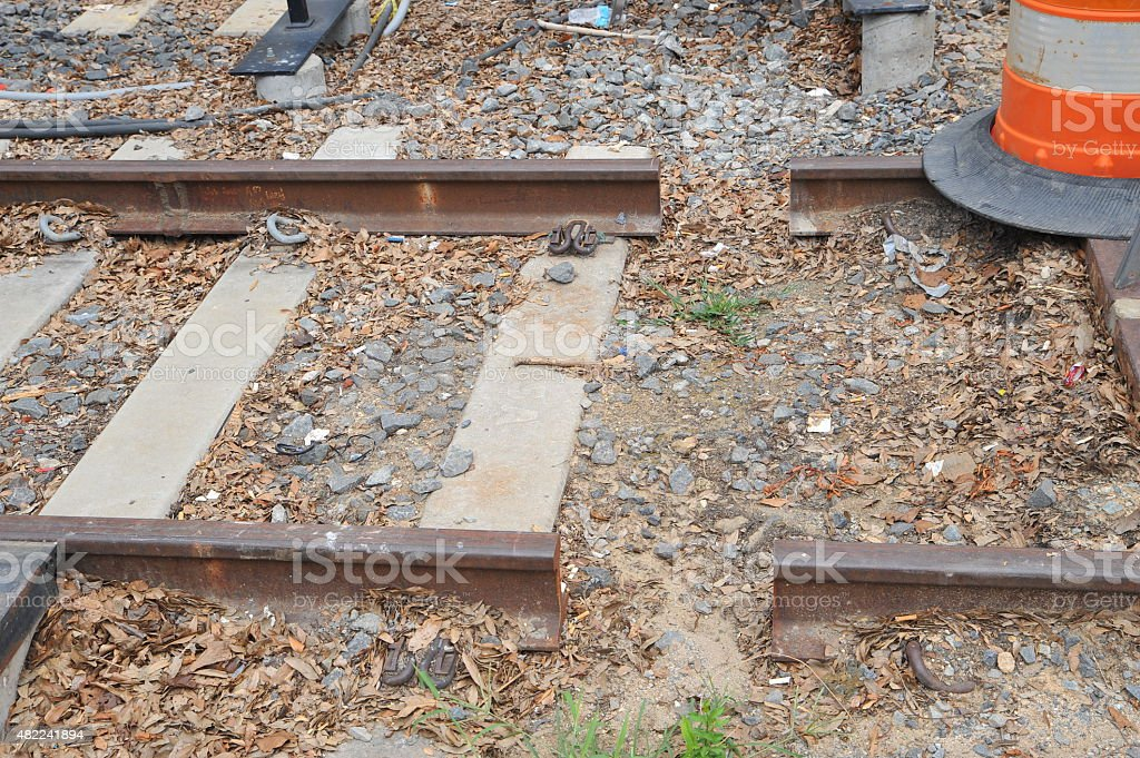 Broken railroad tracks stock photo