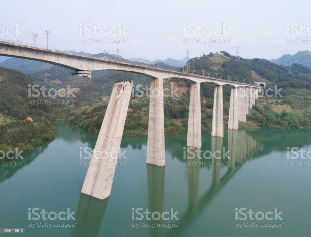 Broken railway bridge stock photo