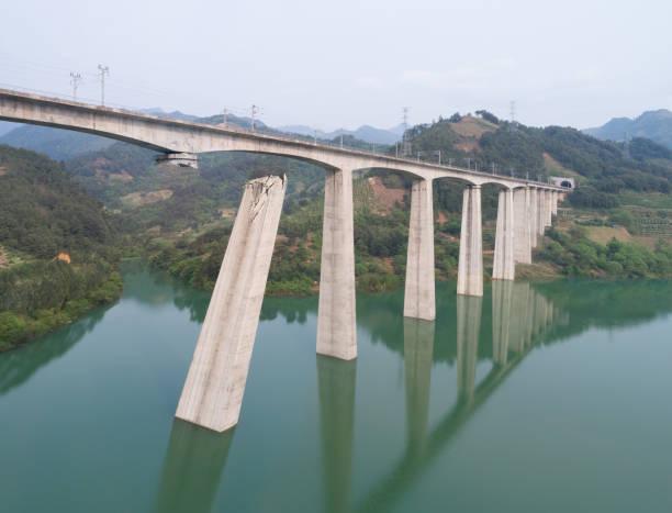 Broken railway bridge stock photo