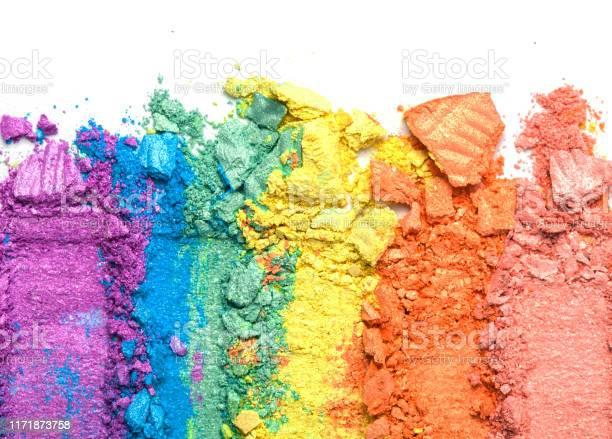Broken rainbow colored eye shadow smear make up palette isolated on a picture id1171873758?b=1&k=6&m=1171873758&s=612x612&h=r7ktnahs1fbpp3sdxjdj3zbniou7w8eyxcdorici49k=