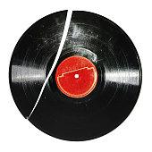 Broken old vinyl record