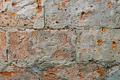 istock broken red bricks wall, texture close-up shot 1145859345