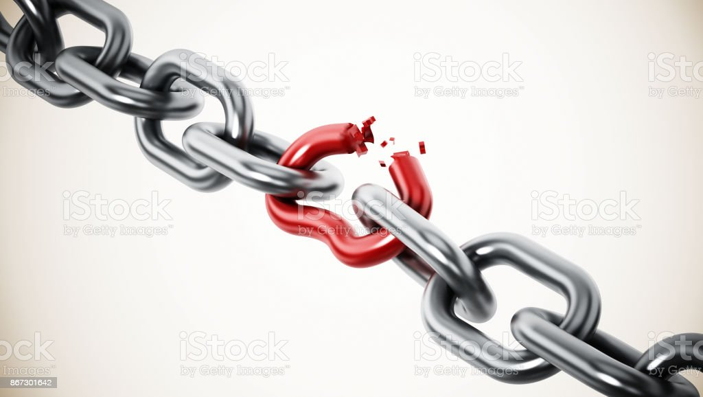 Broken red chain part among metal parts stock photo