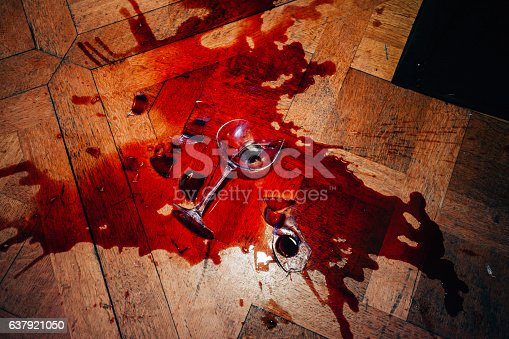 istock Broken red wine glass 637921050
