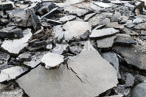 Photo of Asphalt road cracked and broken from earthquake. Horizontal image of Cracked asphalt