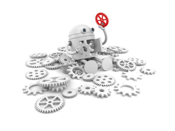 broken robot with details of its mechanism. for your website projects. 3d illustration - under construction icon foto e immagini stock