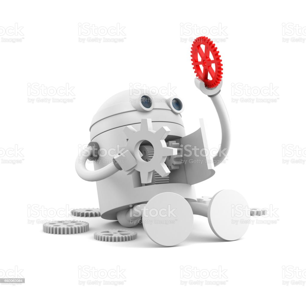 Broken robot with details of its mechanism. For your website projects. 3d illustration stock photo