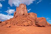 Broken Rock around a Sandstone Monolith in Monument Valley in Arizona