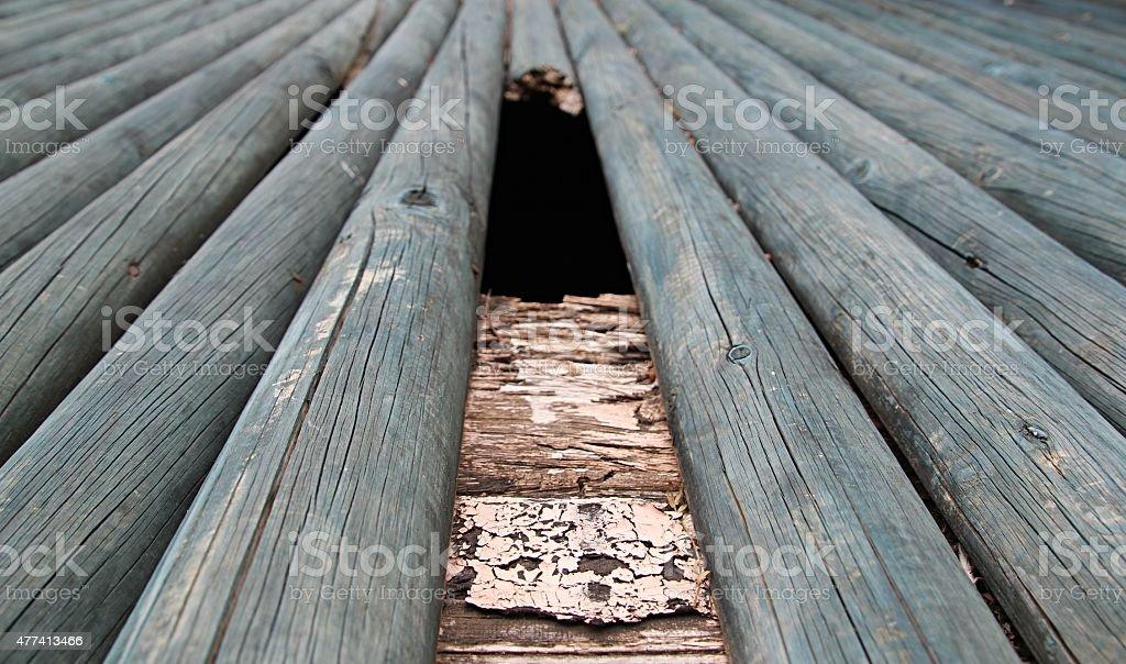 Broken round wooden plank stock photo