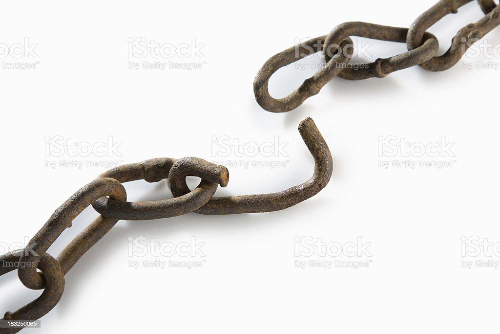 Broken rusted chain stock photo