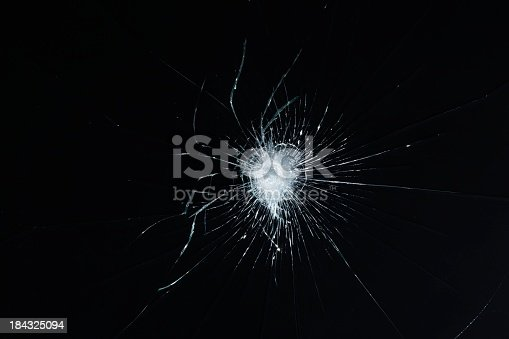 safety glass with cracks in it.