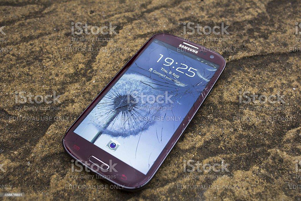 Broken Screen on a Samsung S3 royalty-free stock photo