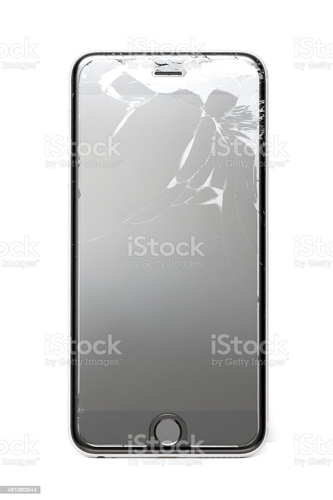 Broken Screen on iPhone 6 Plus stock photo
