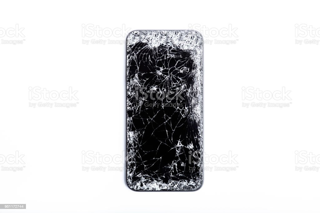 Broken screen on mobile phone stock photo