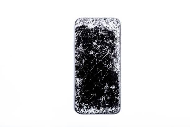 broken screen on mobile phone - broken iphone stock photos and pictures