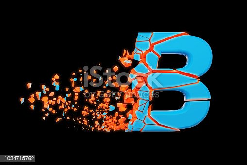 istock Broken shattered fast sporty alphabet letter B uppercase. Crushed speedy racing font. 3D render isolated on black background. 1034715762