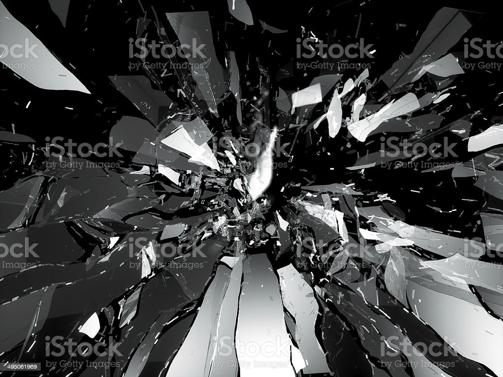 Broken shattered glass pieces isolated stock photo