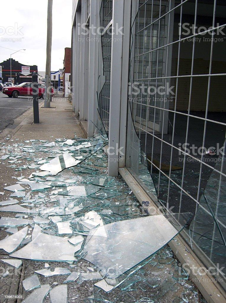 Broken shop window stock photo