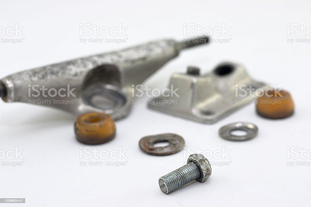 broken skateboard truck stock photo