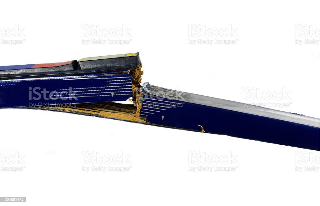 Broken ski stock photo
