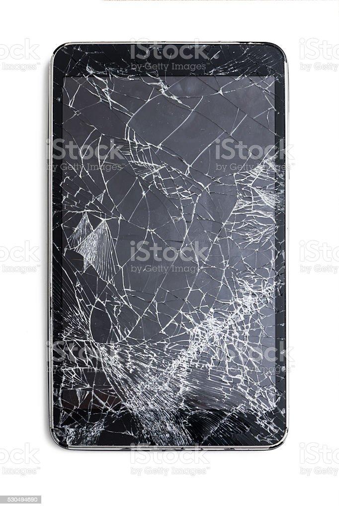 Broken smartphone isolated on white backgraund stock photo
