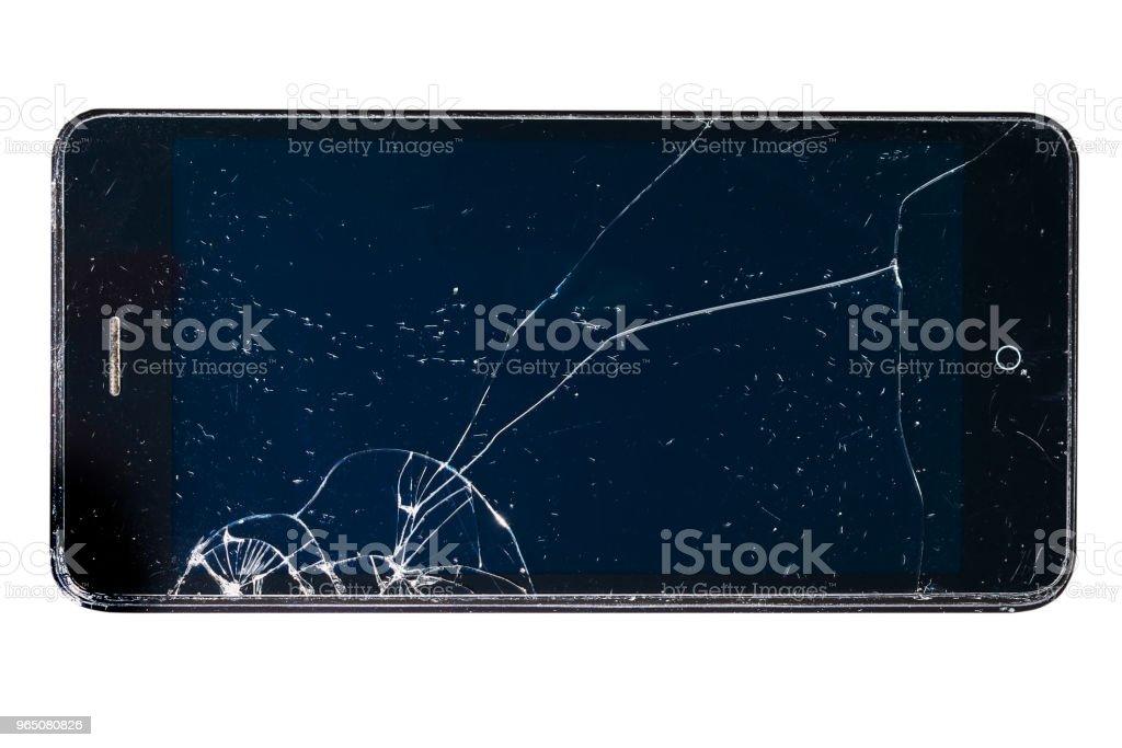 Broken smartphone screen, on white background, repair concept zbiór zdjęć royalty-free