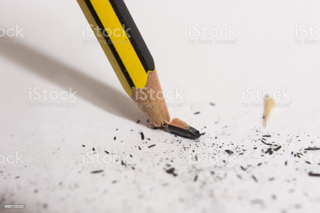 Broken snapped pencil tip stock photo