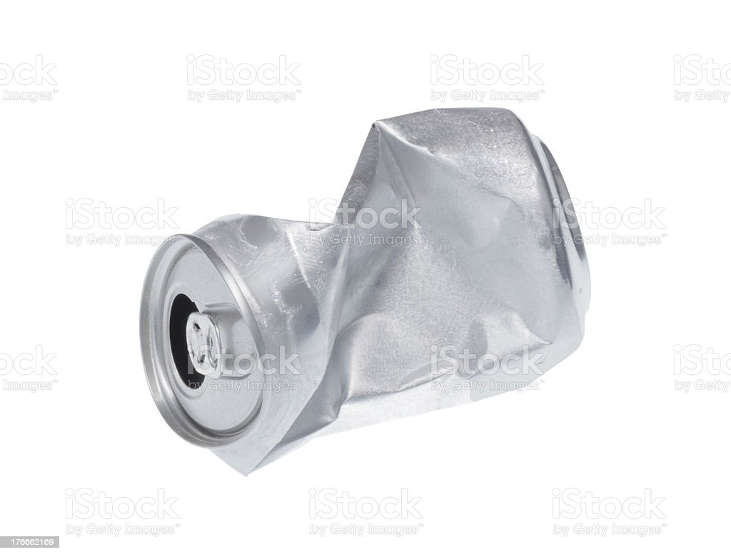 Broken soda can isolated on white background. royalty-free stock photo