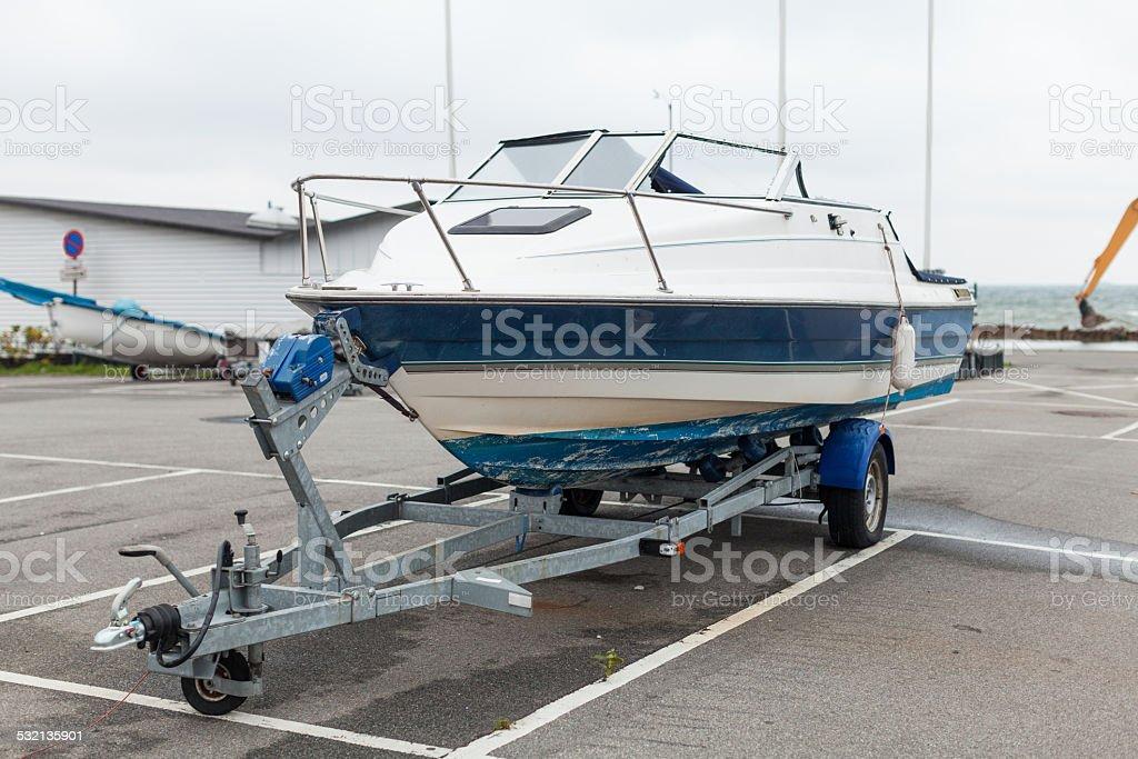Broken Speed Boat on Trailer stock photo