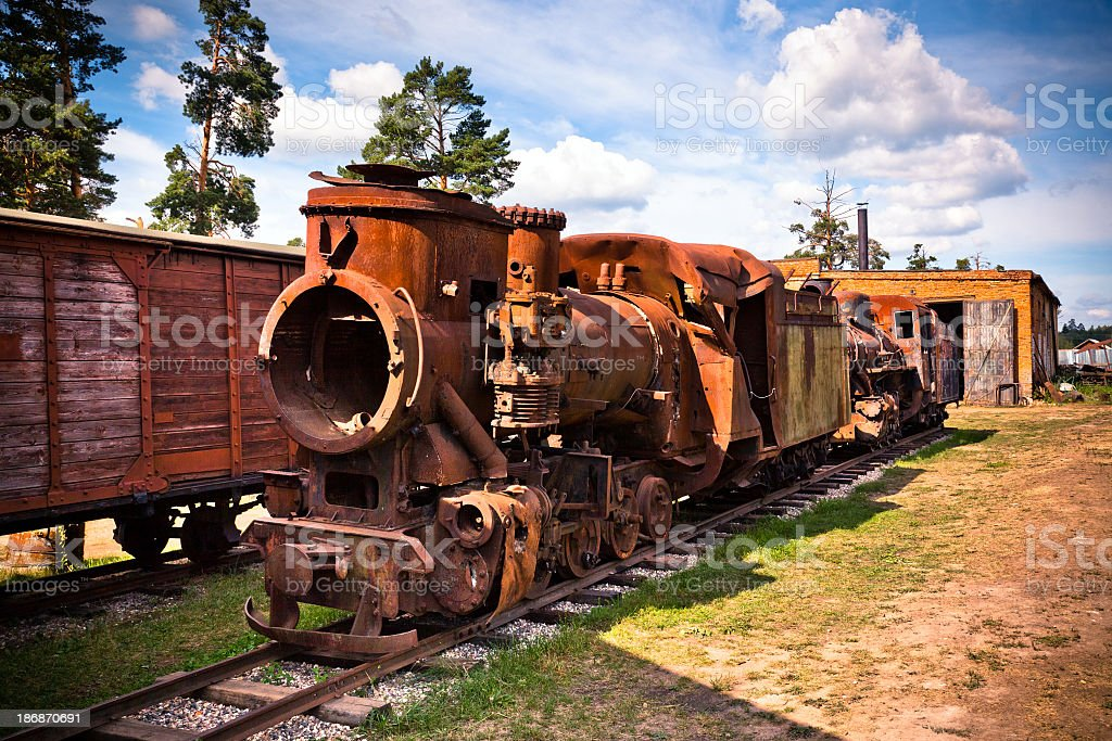 Broken steam engine locomotive royalty-free stock photo