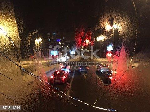 Broken steamy glass and traffic lights in Skopje, Macedonia.