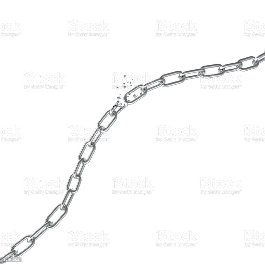 Broken steel, Broken metal chain links freedom concept. Disruption strong steel, 3D illustration stock photo