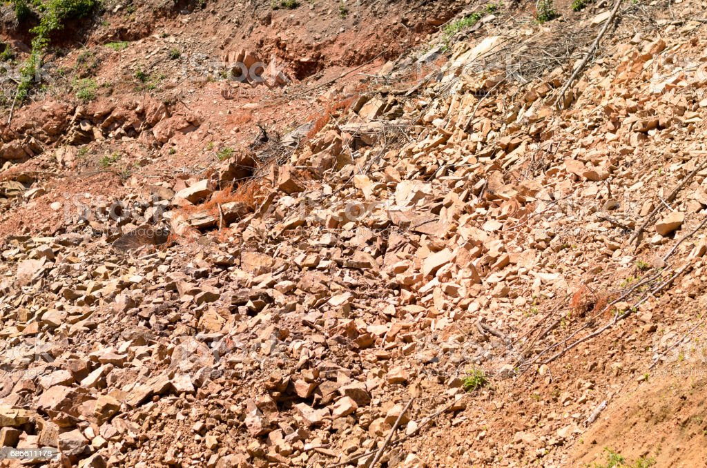 Broken stone wall after earthquake royalty-free stock photo