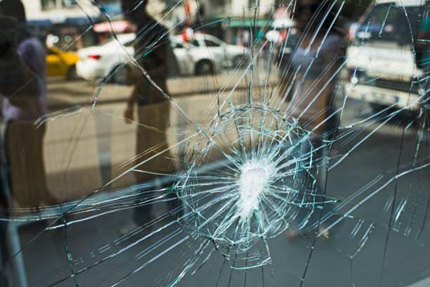 Broken Store Window stock photo