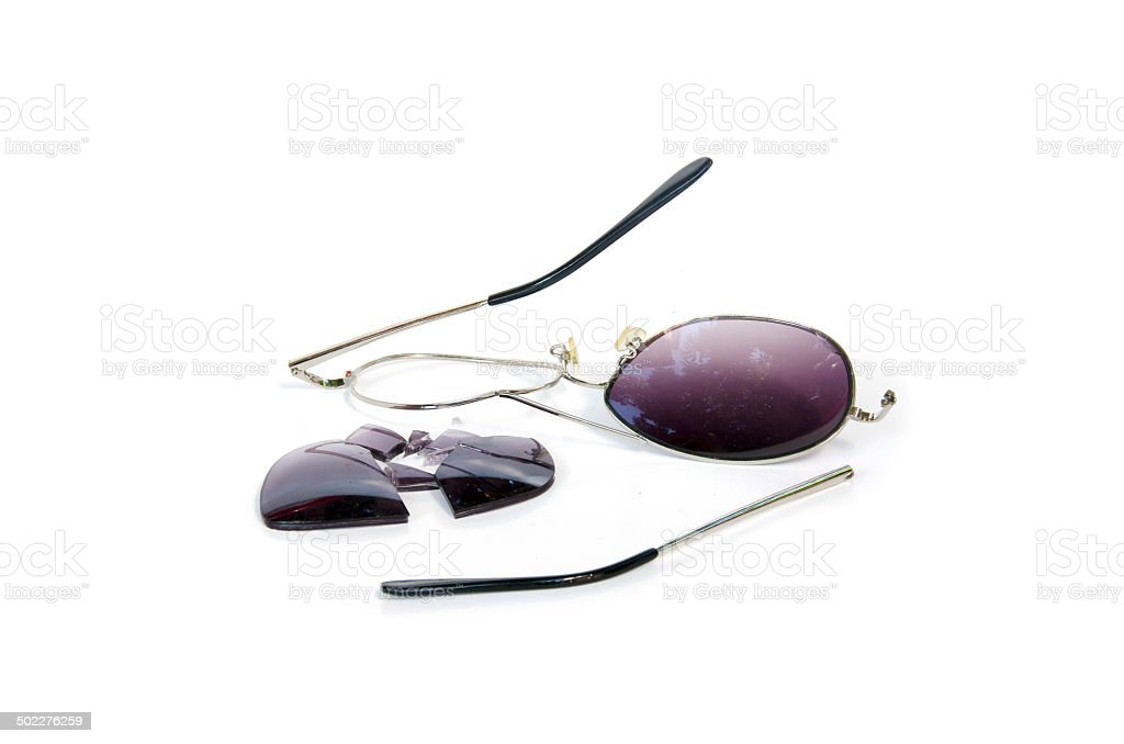 Broken sunglass stock photo