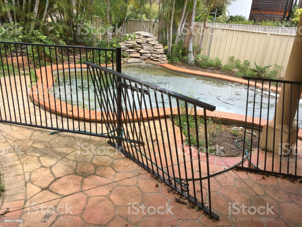 Picture of: Broken Swimming Pool Fence Stock Photo Download Image Now Istock