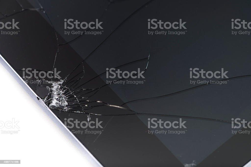 Broken tablet computer stock photo