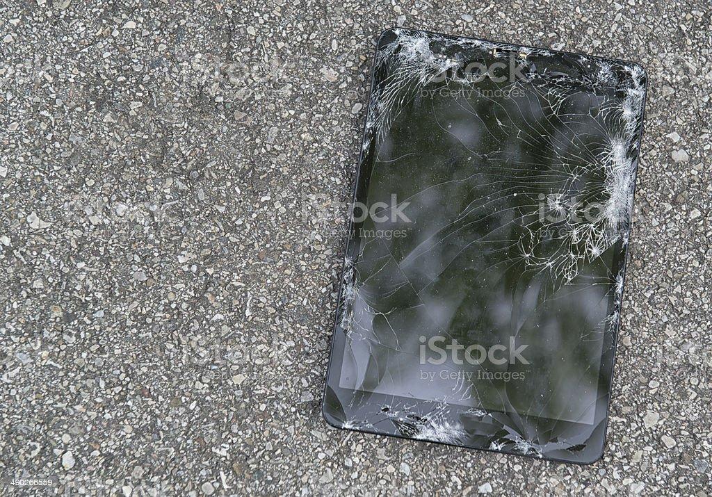 broken tablet pc stock photo