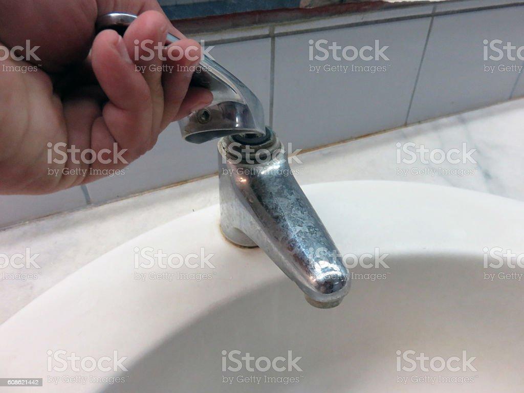 Broken tap stock photo