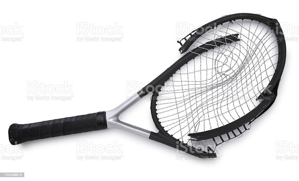 Broken Tennis Racket Isolated on White royalty-free stock photo