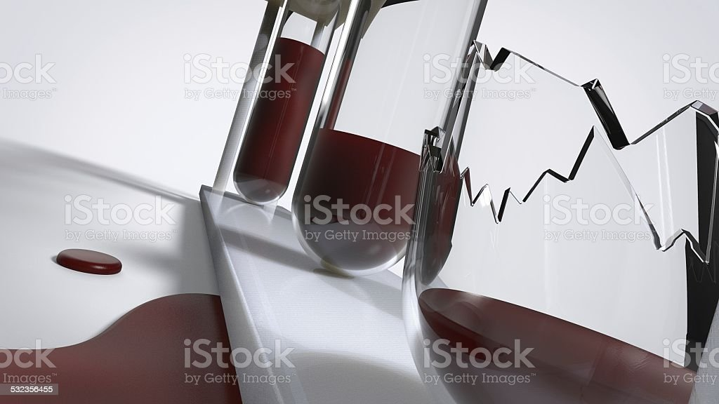 Broken test tubes stock photo