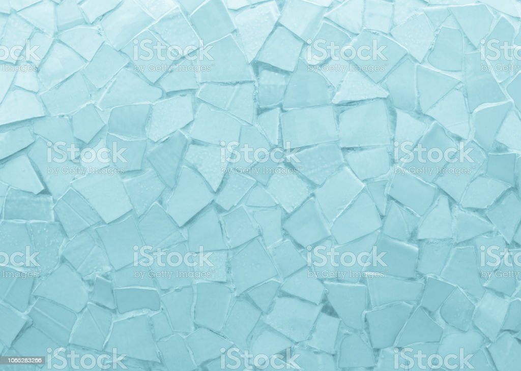 Broken tiles mosaic seamless pattern. Blue the tile wall high resolution real photo or brick seamless and texture interior background. stock photo