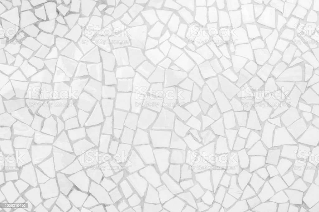 Broken tiles mosaic seamless pattern. White and Grey the tile wall high resolution real photo or brick seamless and texture interior background. stock photo