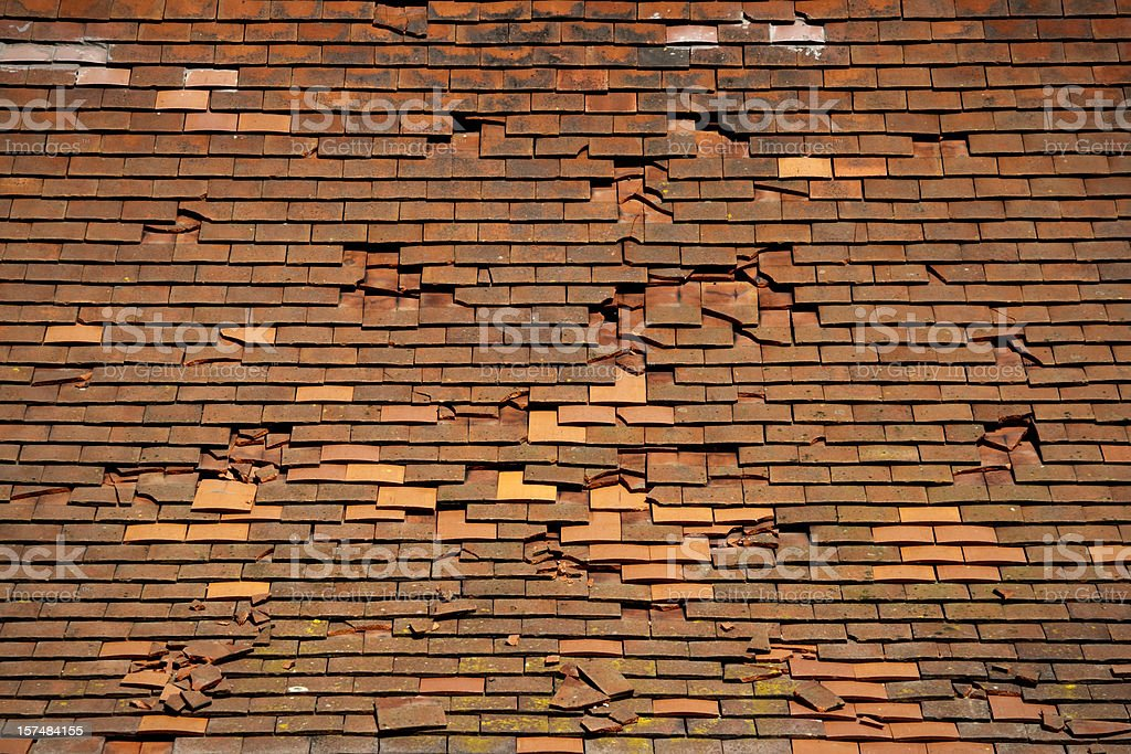 Broken tiles stock photo