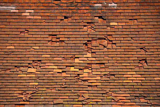Broken tiles stock photo
