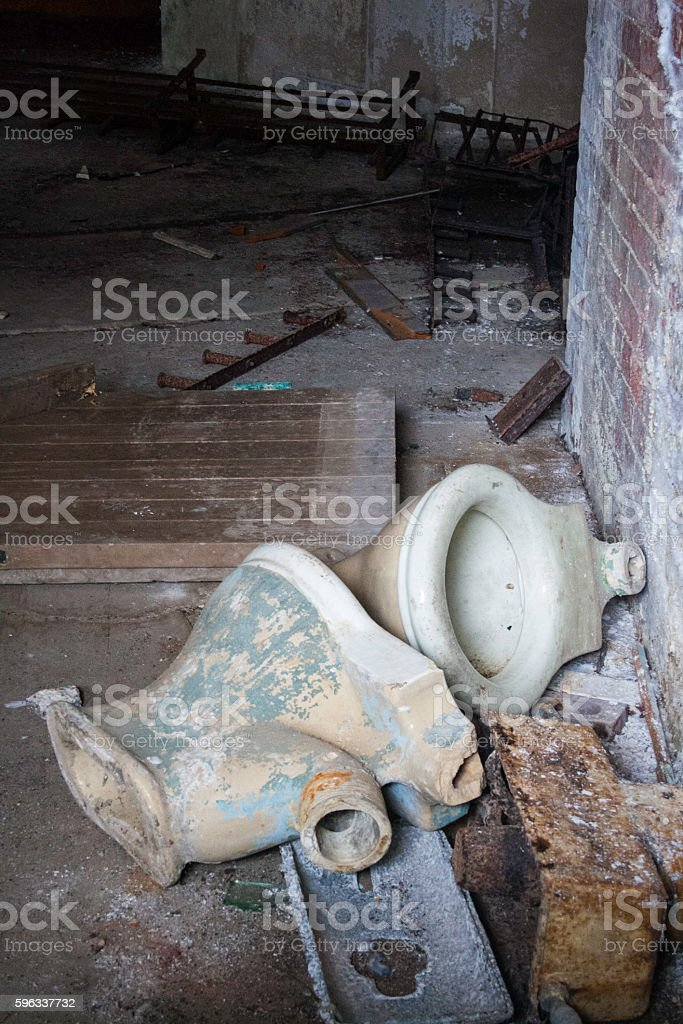 Broken toilet bowls royalty-free stock photo